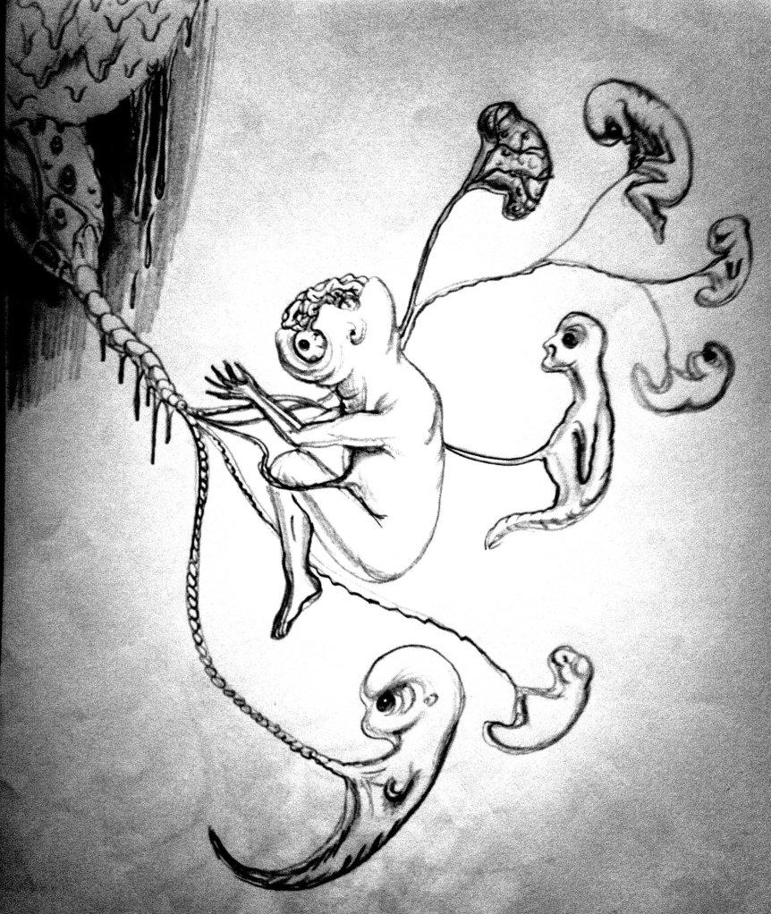 Embrioni mutanti cu malformatii desen in creion