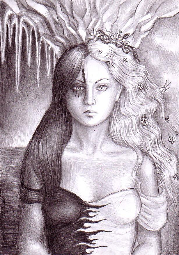 Cele doua fete ale zeitei Persephona, desen in creion