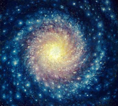 Galaxie, pictura in ulei pe lemn