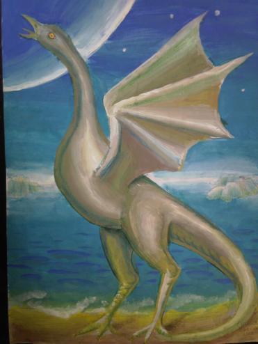 Un dinozaur zburator pregatindu-se sa-si ia zborul