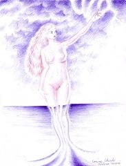 Nasterea venerei desen facut numai cu cu pixul- The birth of Aphrodite pen drawing