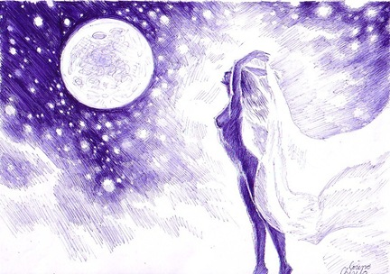 Goala in lumina lunii desen facut cu un banal pix albastru