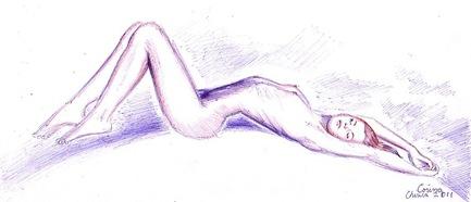 Pen drawing of a beautiful nude woman