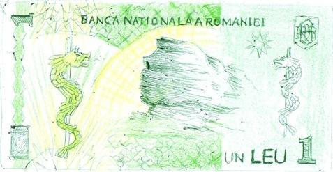 Bancnota de un leu cu elemente dacice