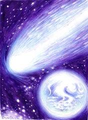 Cometa si planeta ca Pamantul desen in pix - Comet and Earth like planet pen drawing
