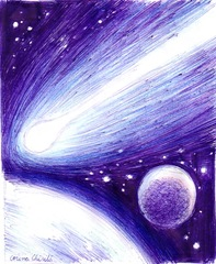 Cometa si planete desen in pix- Comet and planets pen drawing