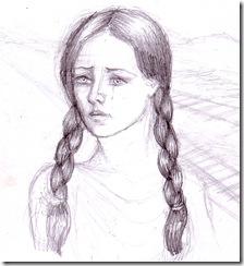 Fata trista desen in creion - Sad girl pencil drawing