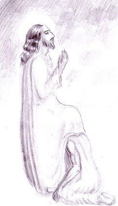 Iisus Hristos si un pacatos spovedindu-se desen in creion