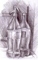 Natura statica cu sifon si sticla de cola desen in creion