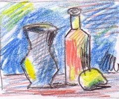 Natura statica desen creioane colorate