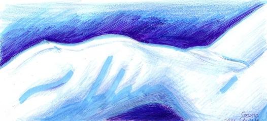 Nud in tonuri reci de albastru - Cold blue nude woman