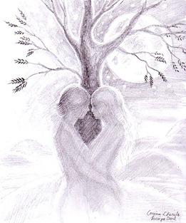 Sara pe deal - Desen in creion inspirat din poezia lui Mihai Eminescu