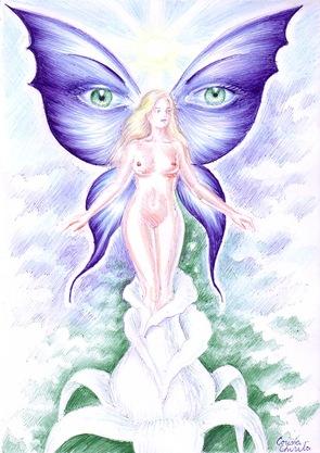 Spring fantasy drawing - O zana a primaverii si a florilor cu aripi frumoase de fluture cu ochi pe ele