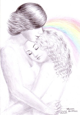 Sweet embrace pencil drawing