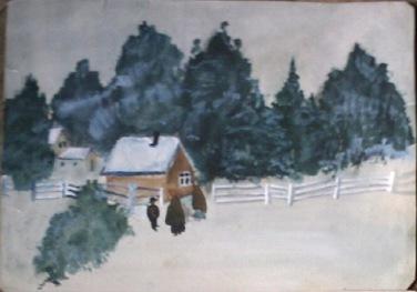 Peisaj de iarna in acuarela facut inainte de 1940 de Emanuel Chirila, bunicul meu care pe vremea aceea era copil