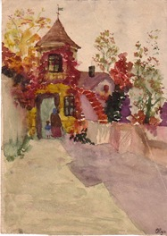 Pictura in acuarela facutra de strabunica mea Olga Chirila acum aproape 100 de ani