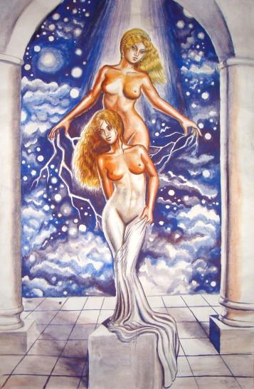 Afrodita dand viata statuii Galatea, pictura acuarela