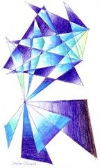Desen abstract cu triunghiuri gen Kandinsky