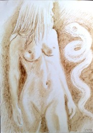 Eva, pictura facuta cu cafea si ciocolata