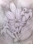 Flori desenate in creion