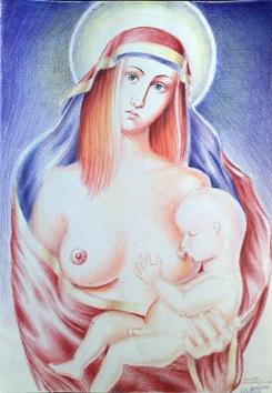 Icoana Fecioarei Maria alaptand pruncul