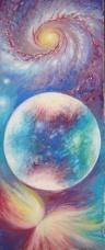 Lumini si umbre cosmice pe suprafata unei sfere, pictura tempera