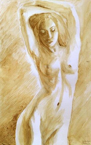 Nud pictat cu cafea