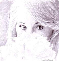 O fata mirosind florile pline de parfum desen in creion