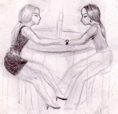 o seara romantica desen in creion