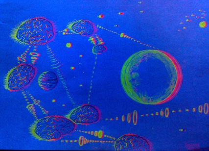 Reteaua telepatiei cosmice desen fluorescent 3d