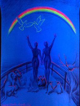 The end of the rainbow - Arca lui Noe desen cu curcubeu fluorescent