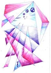 triunghiuri in albastru si roz