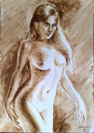 Veronica Micle nud pictata cu cafea