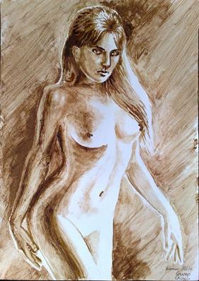 Veronica Micle nud pictura facuta cu cafea si ciocolata