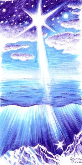 """Desen inspirat din poezia """"Cand marea..."""" de Mihai Eminescu"""