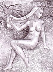 Dorinta- desen in creion inspirat din poezia lui Mihai Eminescu