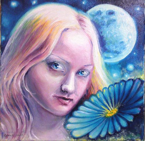 Floare albastra pictura ulei pe panza