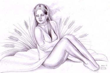 Kore, fiica Demetrei - desen in creion