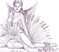 Kore- Zeita fecioara a primaverii, desen in creion
