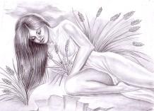 Zeita Kore, fiica Demetrei privind in jos, spre lumea lui Hades, desen in creion