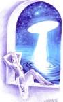 Luceafarul si fata de imparat, desen in pix inspirat din poezia lui Mihai Eminescu