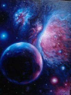 Nebuloasa Orion, pictura ulei pe panza