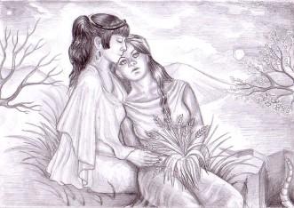 Demetra si Kore, mama si fiica, desen in creion