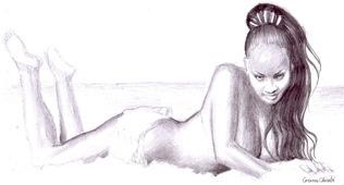 Bruneta sexy desen in creion