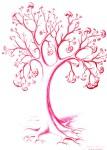 Copacul cu embrioni si fetusi, desen in pix