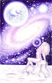 Eva cosmica, desen facut cu pixul in anul 2010