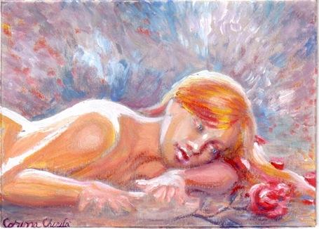 Fata ganditoare si visatoare si trandafirul iubirii