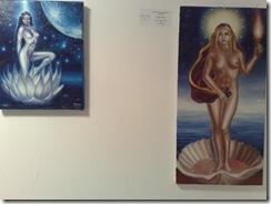 Lotus girl si venere si madona tablouri in ulei pe panza expuse la Elite prof Art gallery expozitia de nuduri
