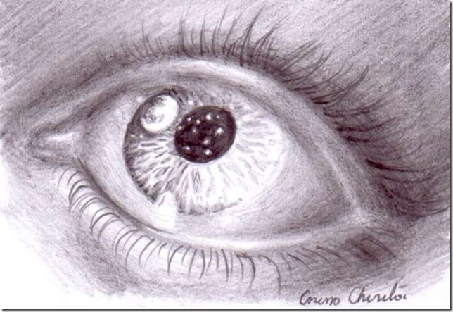 Privind luna si stelele - Inca un ochi desenat in creion - New eye pencil drawing - Watching the moon and the stars