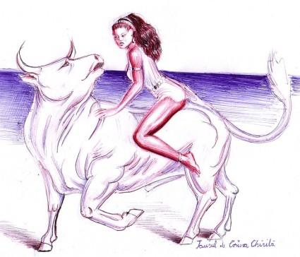 Rapirea Europei sau legenda taurului desen in pix